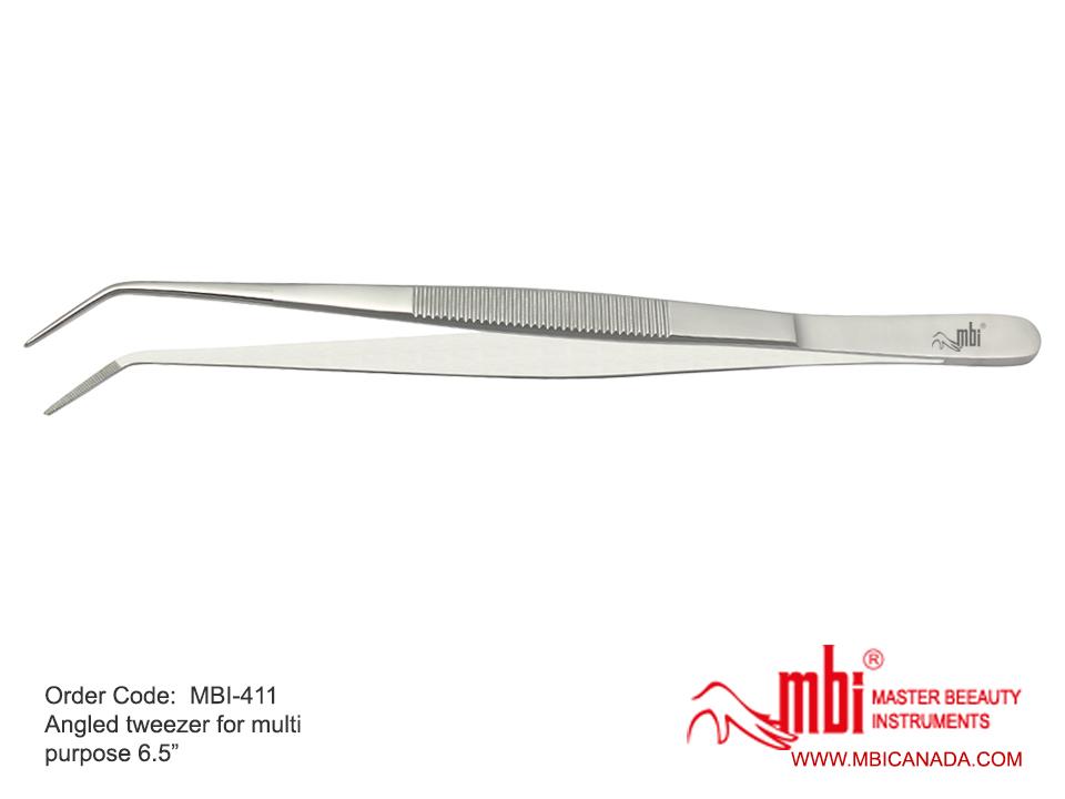 MBI-411 Angled tweezer for multi purpose Size 6 5″   MBI Canada