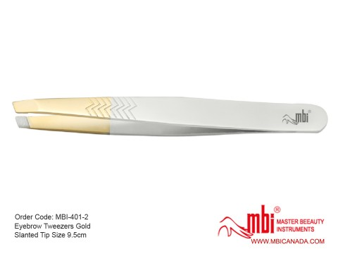 MBI-401-2 EyebrowTweezers gold slanted tip copy