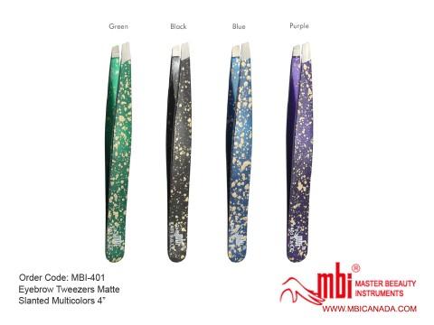 MBI-401 Eyebrow Tweezer Matte Slanted Multicolors 4_ copy